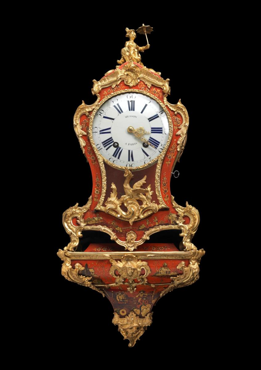 A Louis XV Small Ormolu-Mounted Red Lacquer Bracket Clock, Pierre Musson, Paris