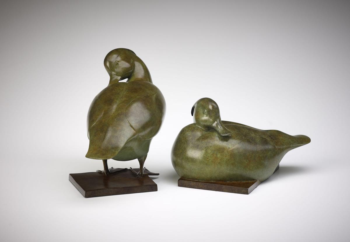 Jonathan Knight Tufted Ducks Bronze Sculpture