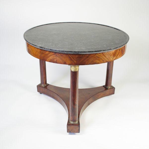 Circular Mahogany Center Table with Marble top