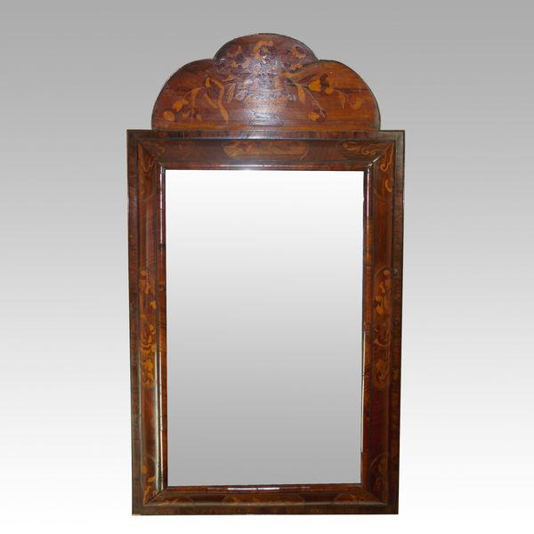 Early 18th century Dutch Walnut and Marquetry Cushion Mirror
