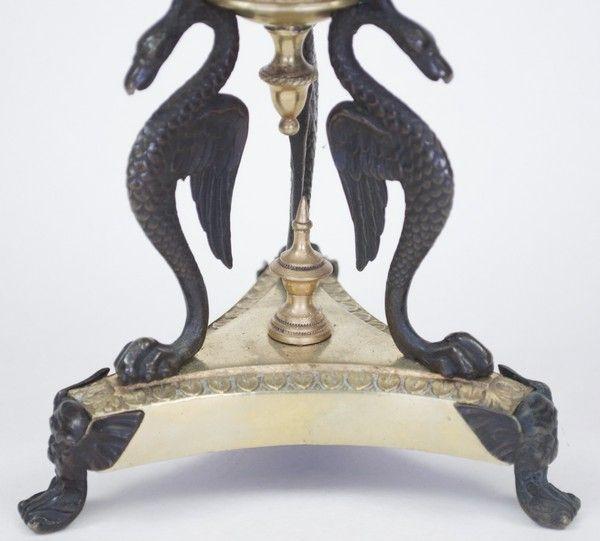 Pair of Bronze & Ormolu lustre drop Candelabra