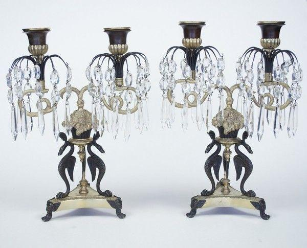 Pair of Bronze & Ormolu lustre drop Candelabra