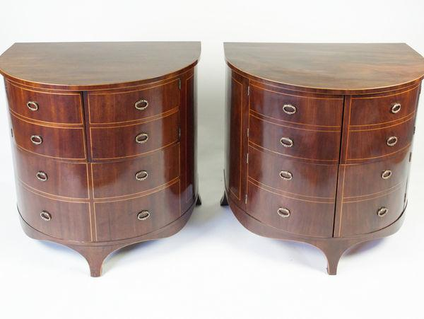 Pair of Gillows Demi Lune Side Cabinets