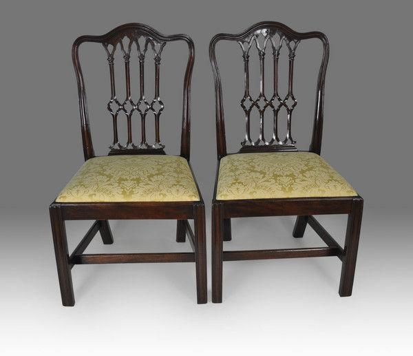 Pair of Gothic Chippendale period Mahogany Chairs