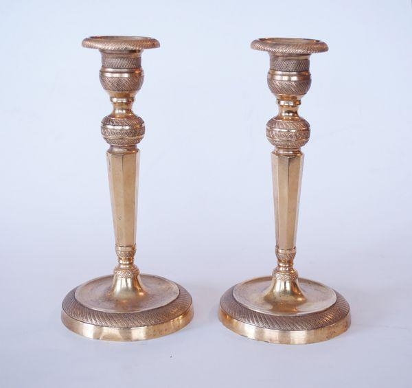 Pair of Ormolu octagonal column Candlesticks