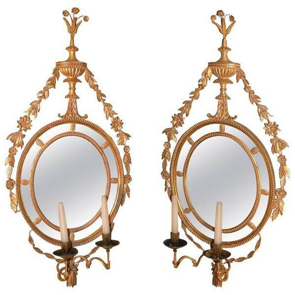 Pair of Oval Giltwood Girandoles/Mirrors