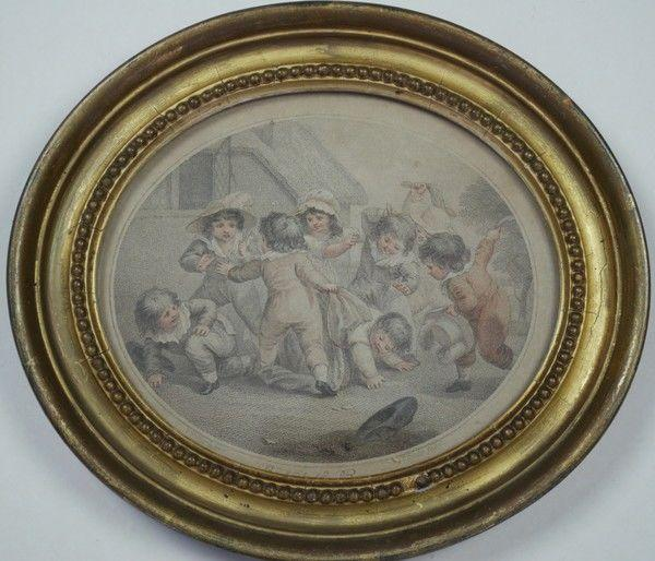 Pair of stipple engravings of children playing