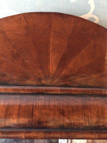 Queen Anne walnut cushion Mirror with curved pediment