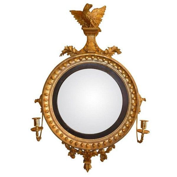 Regency Convex Miror with Eagle Sumount and Candle Sconces