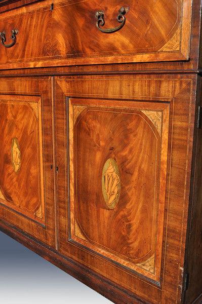 Fine quality Sheraton period inlaid mahogany secretaire bookcase