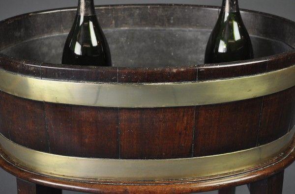George III period oval brass bound open Wine Cooler/Jardiniere