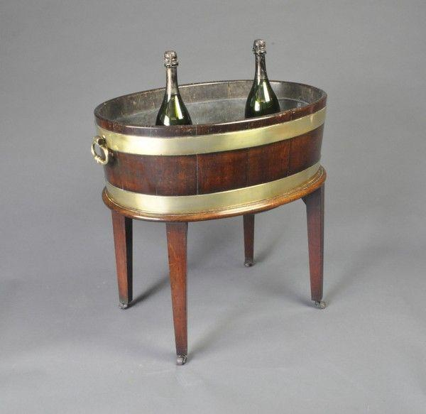 George III period oval brass bound open Wine Cooler/Jardiniere