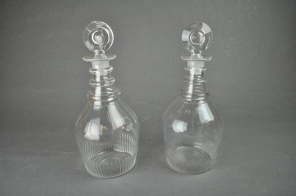 Pair of early 19th century cut glass decanters