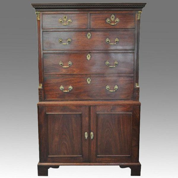 Rare Chippendale Period Inverted Linen Press