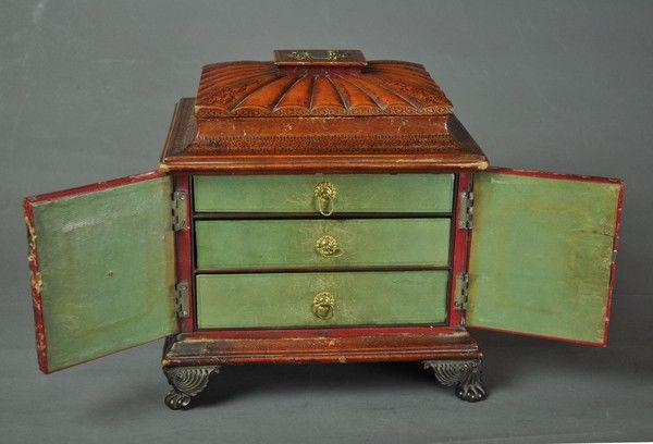 Regency leather covered Sewing Box