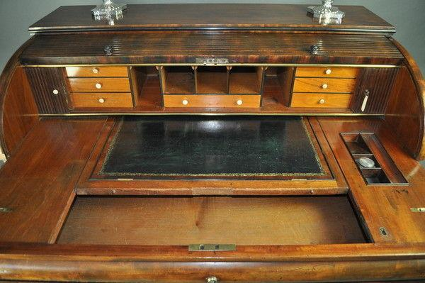 Regency mahogany tambour top desk