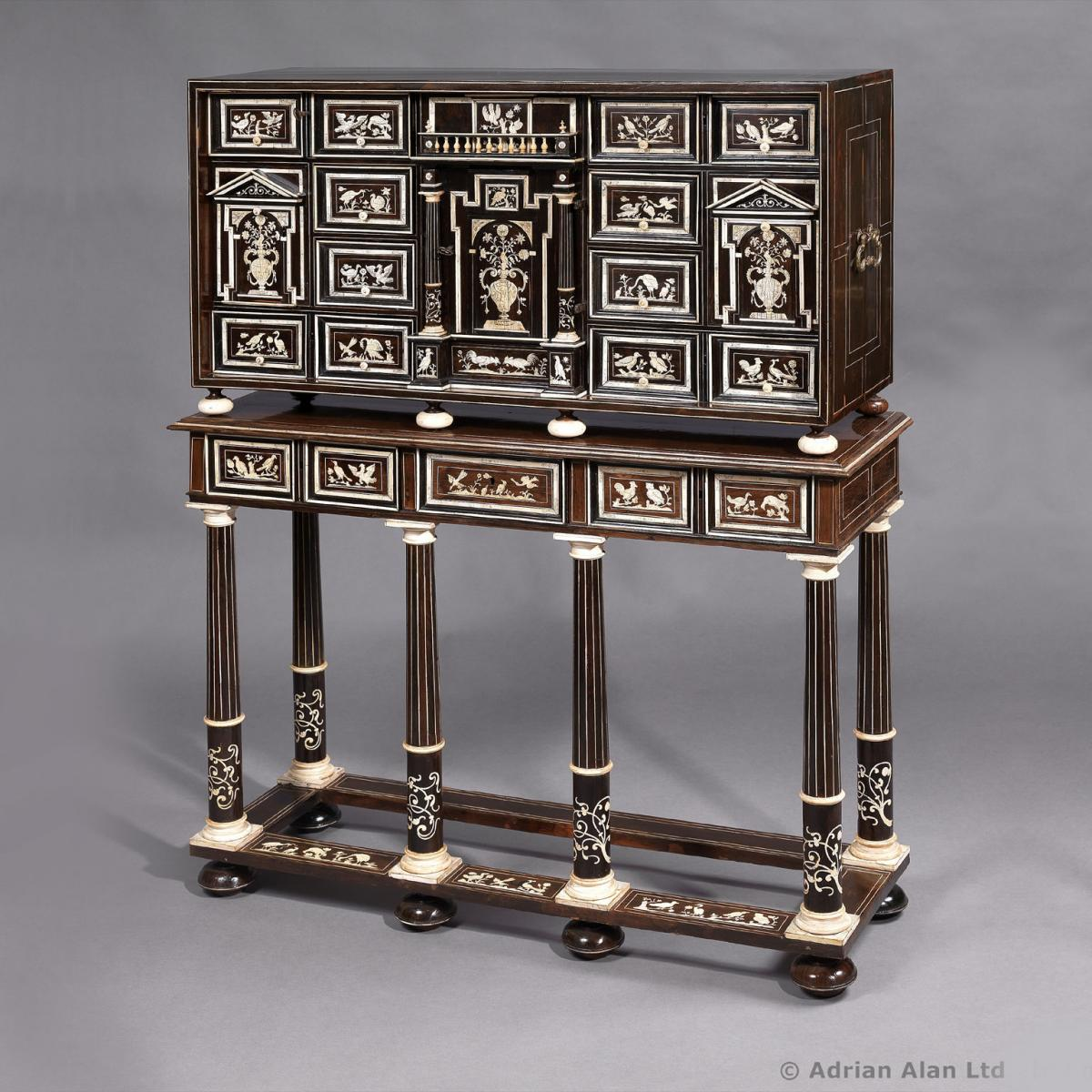 A North Italian Ivory Inlaid Marquetry Cabinet On Stand