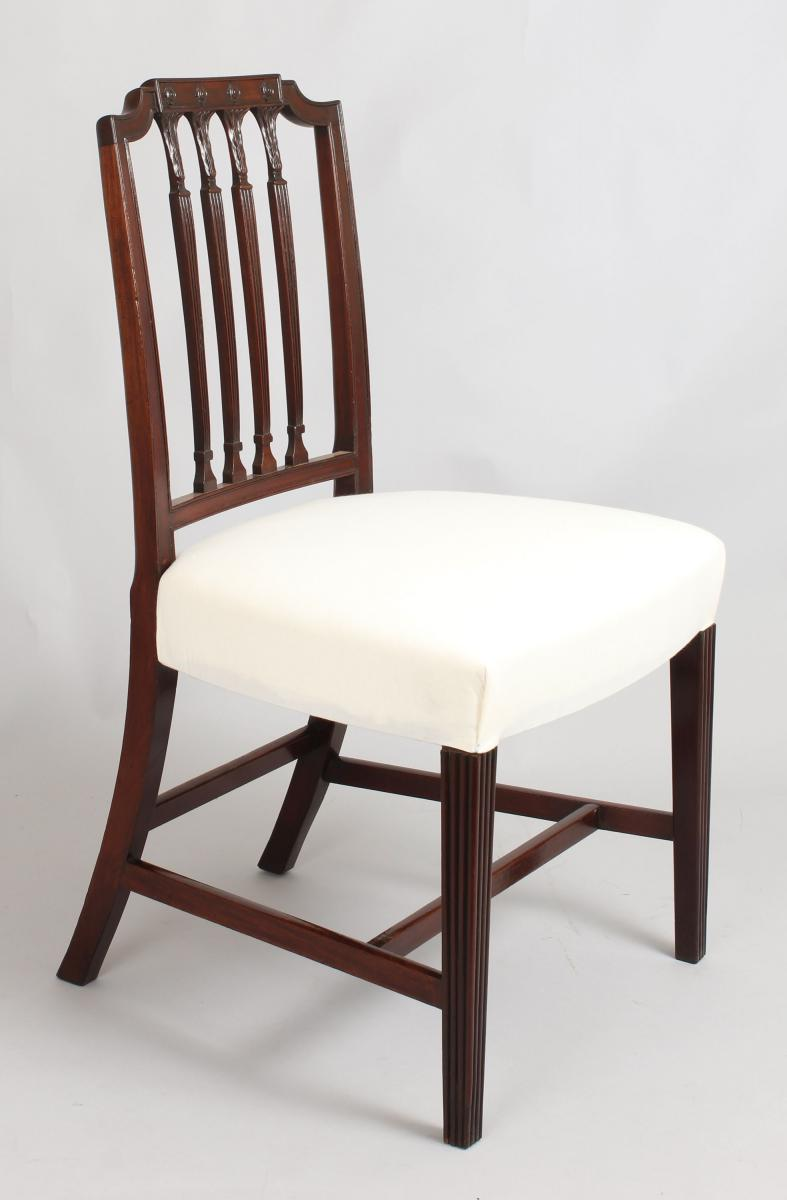 A Set Of Six Fine George III Period Mahogany Dining Chairs In The  Hepplewhite Style