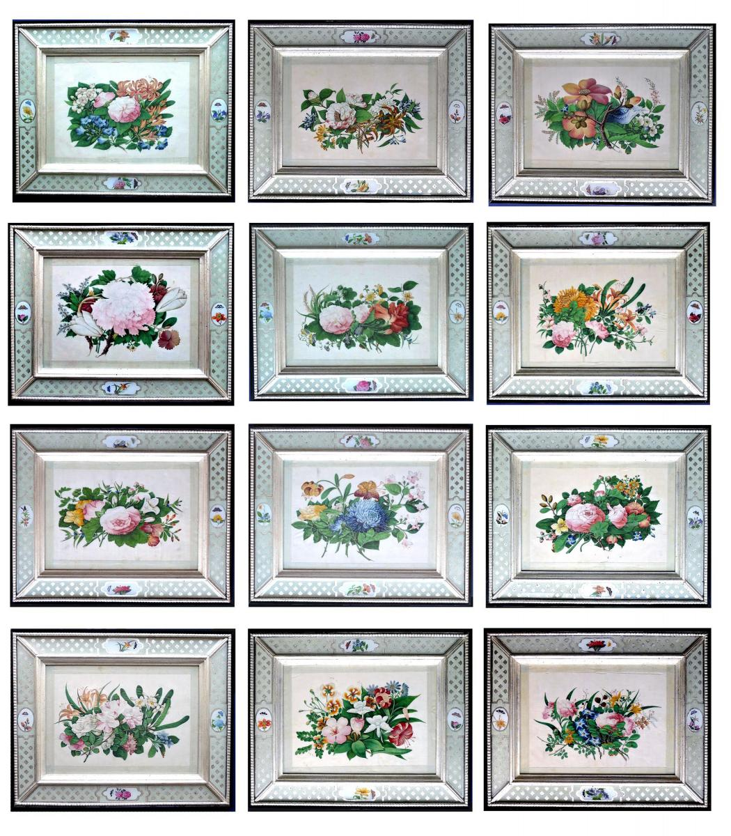 China Trade Set of Twelve Botanical Flower Pith Paper Paintings ...