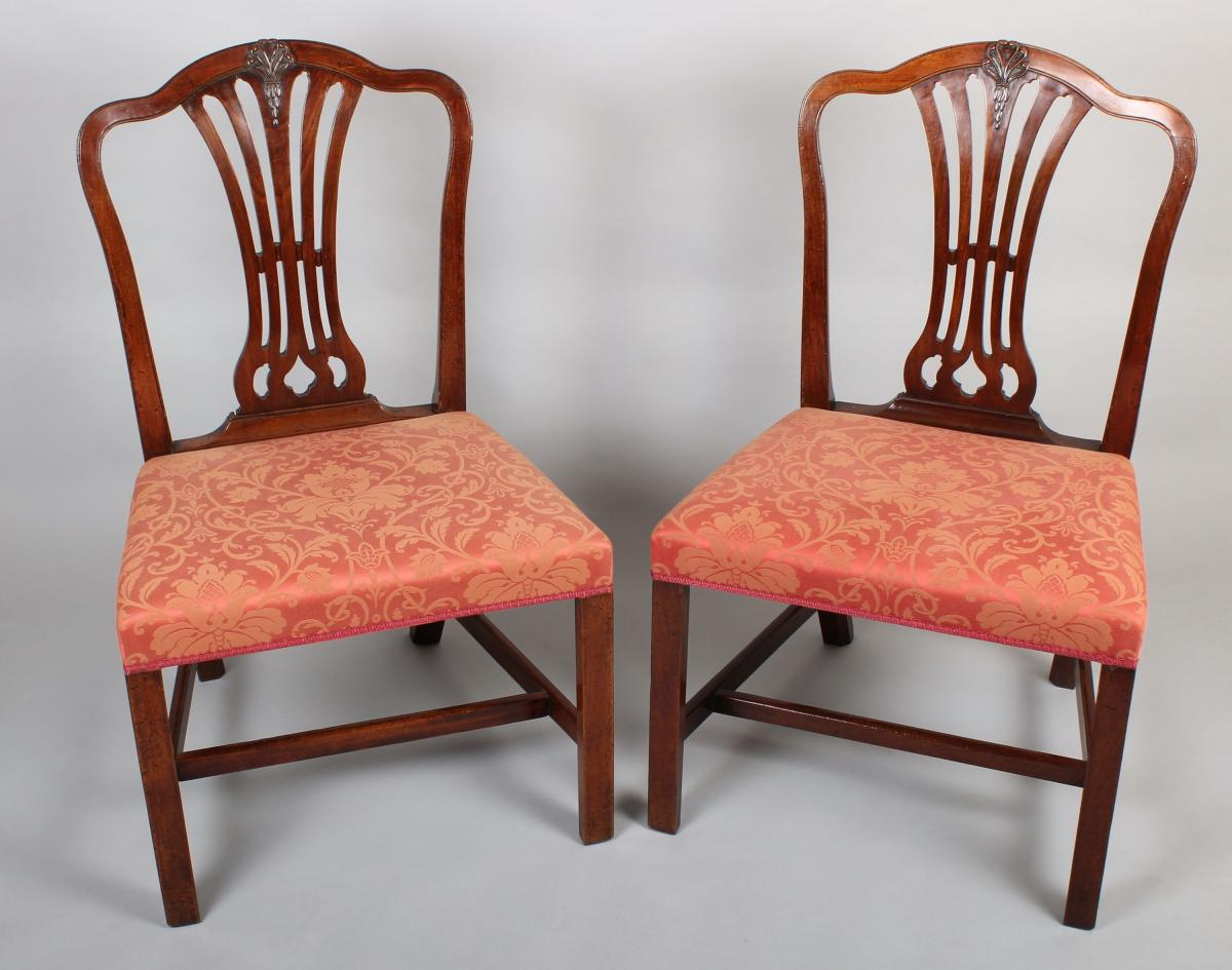 Pair of George III mahogany side-chairs & Pair of George III period mahogany side-chairs in the Hepplewhite ...