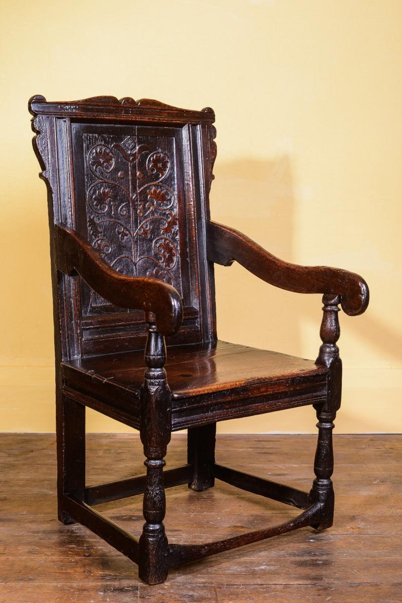 A Dated Oak Wainscot Chair 1689