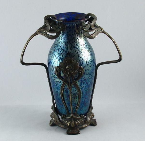 Art Nouveau Loetz Papillon Vase In A Metal Mount Bada