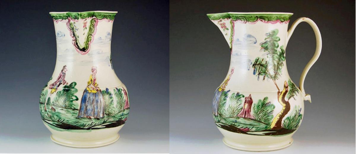 Antique English Saltglaze Cider Jug with Figural Polychrome Decoration, Mid-18th Century.