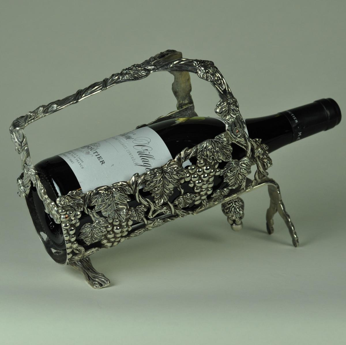 Silver plated wine bottle holder