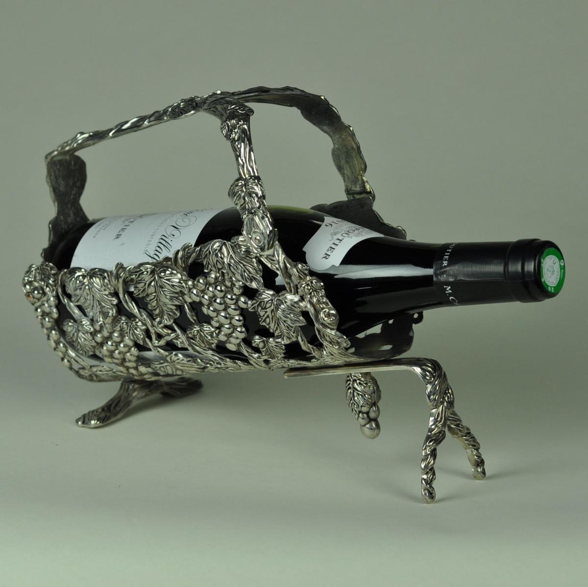 Silver plated wine bottle holder