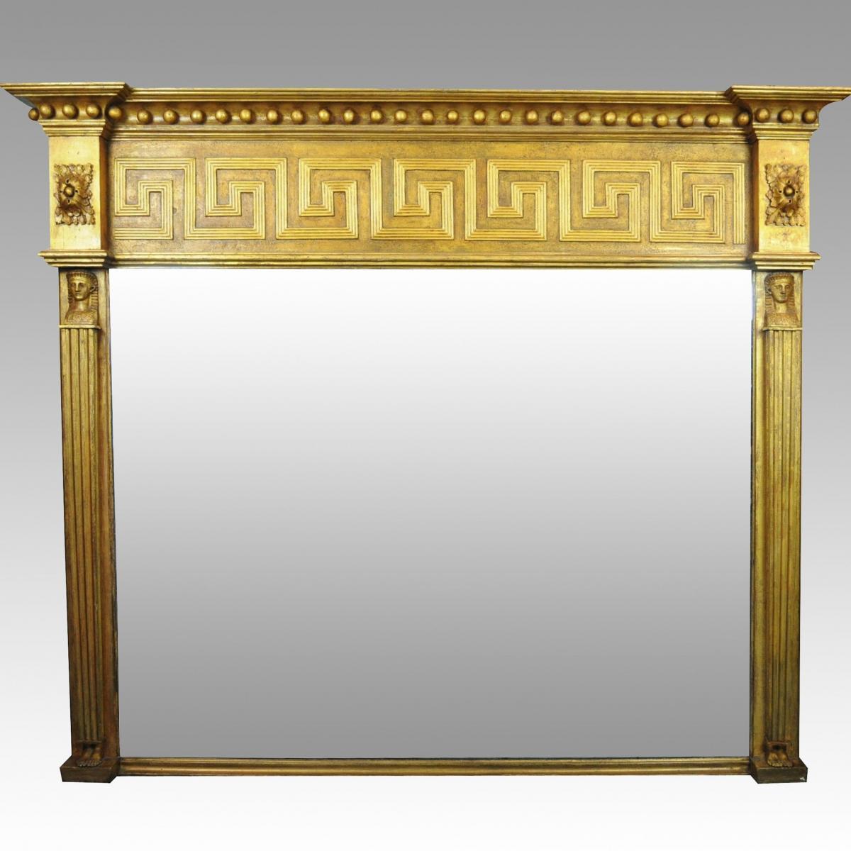 Large Regency Overmantel/Overmantle Mirror