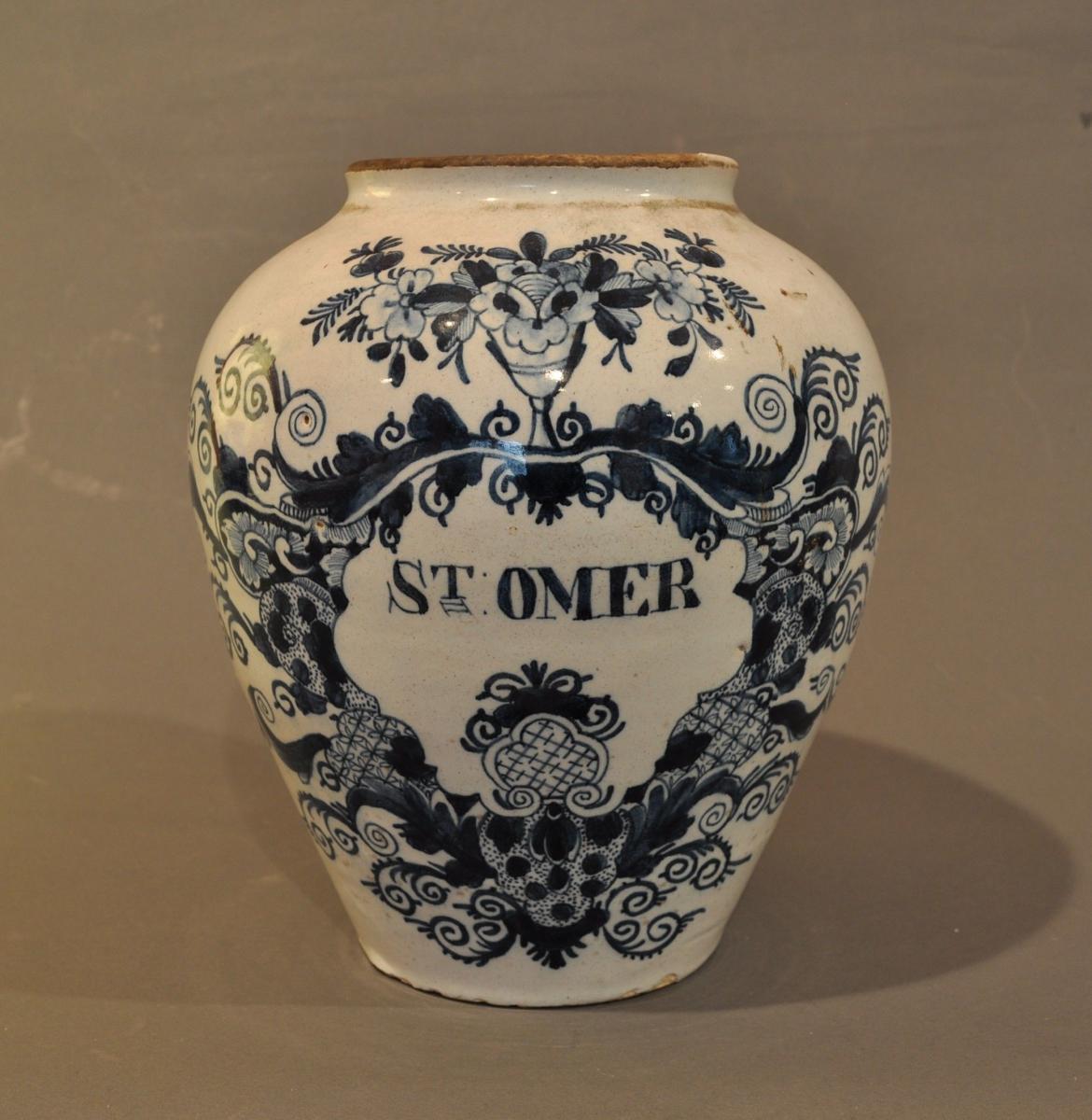 "10 inch Delft Tobacco jar """"St Omer"""""