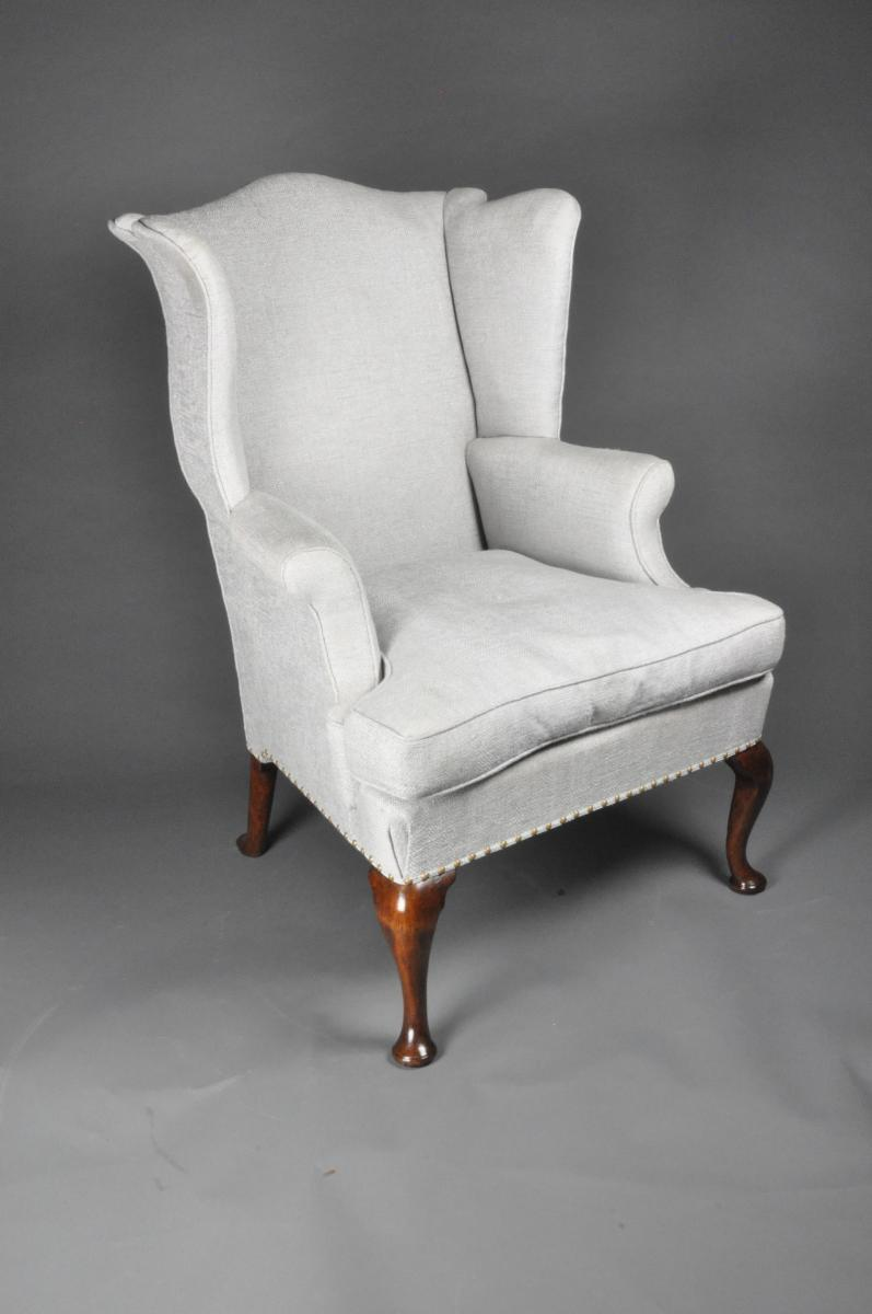 George II Cabriole leg Walnut Wing Armchair
