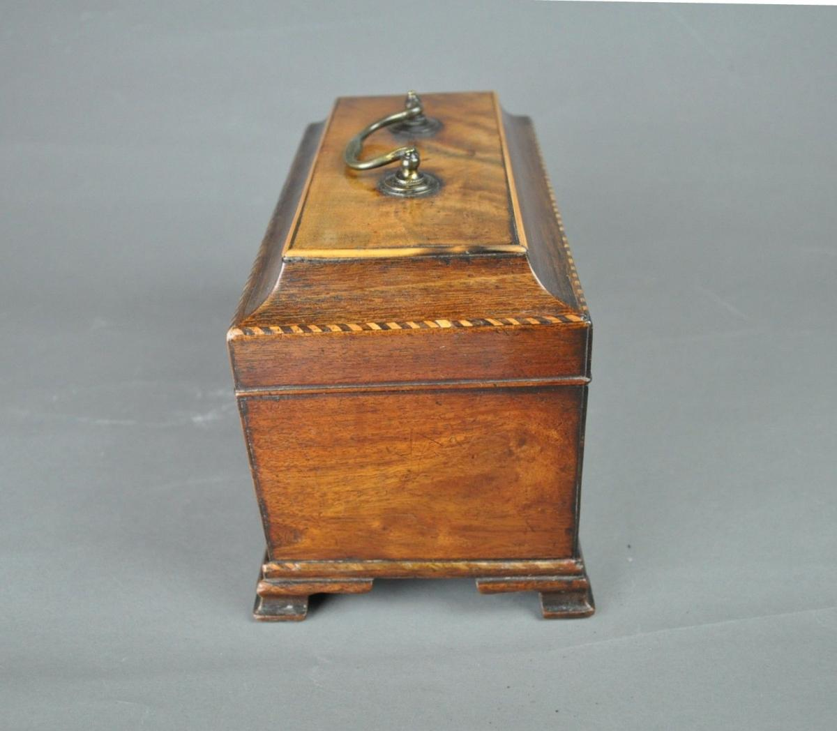 Chippendale period three compartment tea caddy