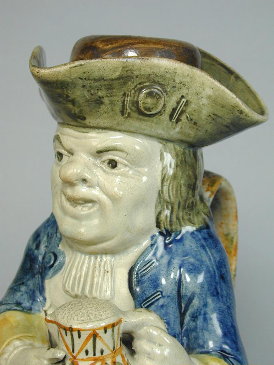 Yorkshire pottery Toby jug and cover, c.1800