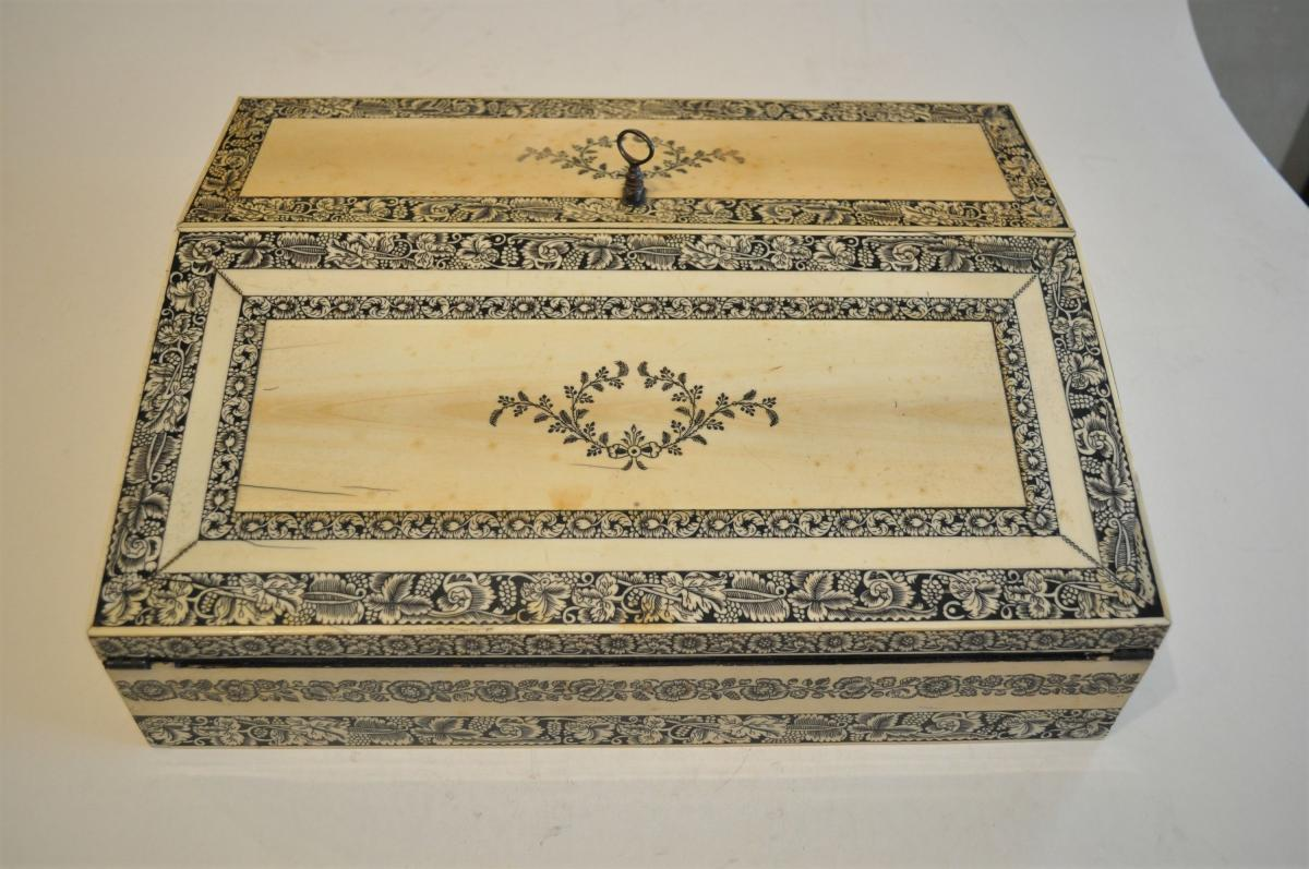 Anglo Indian Ivory and Penwork Writing Box