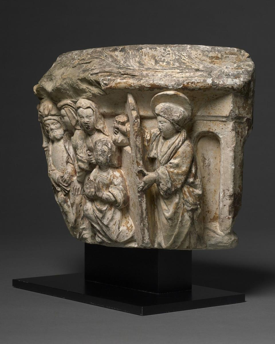 Capital, Saint Nicholas and the Dowry for the Three Virgins, Flemish, Brabant, c. 1510