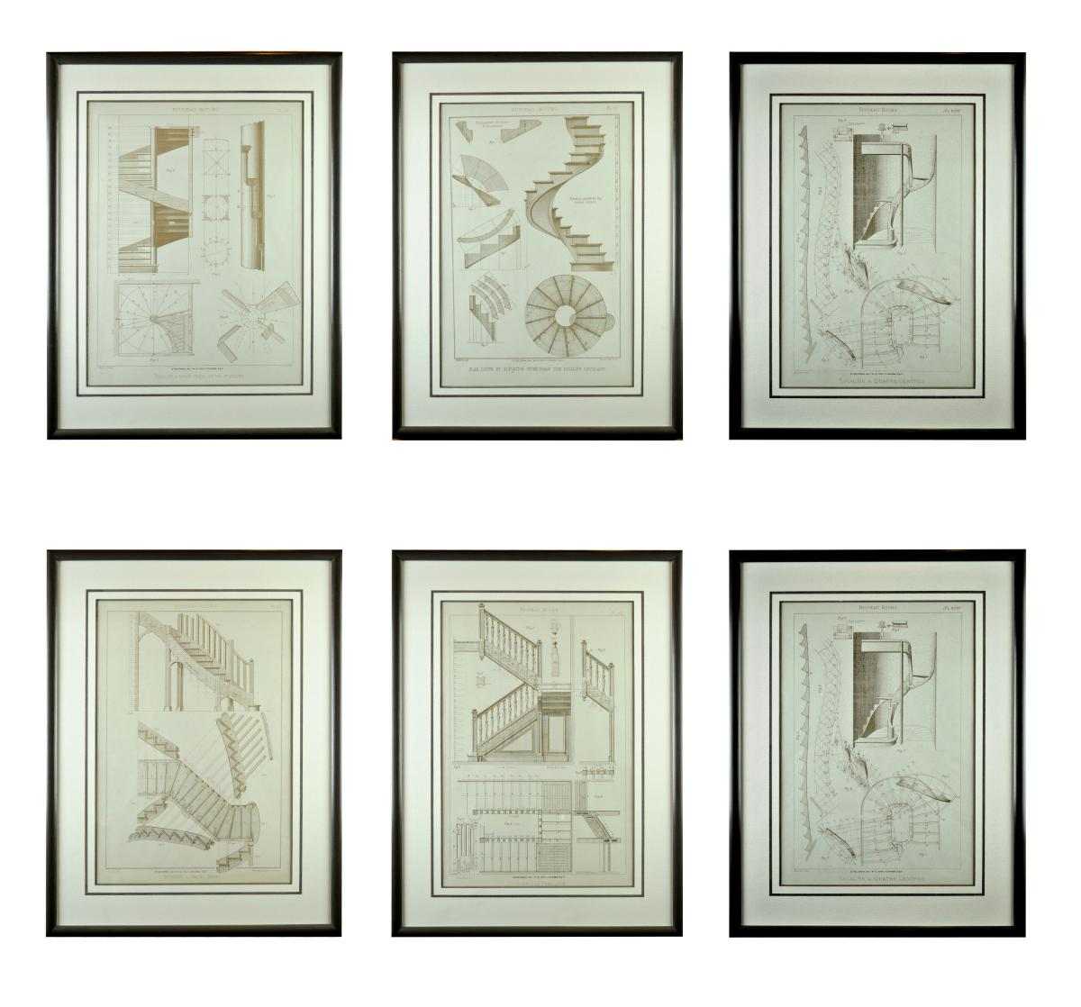 Six Architectural Staircase Engravings