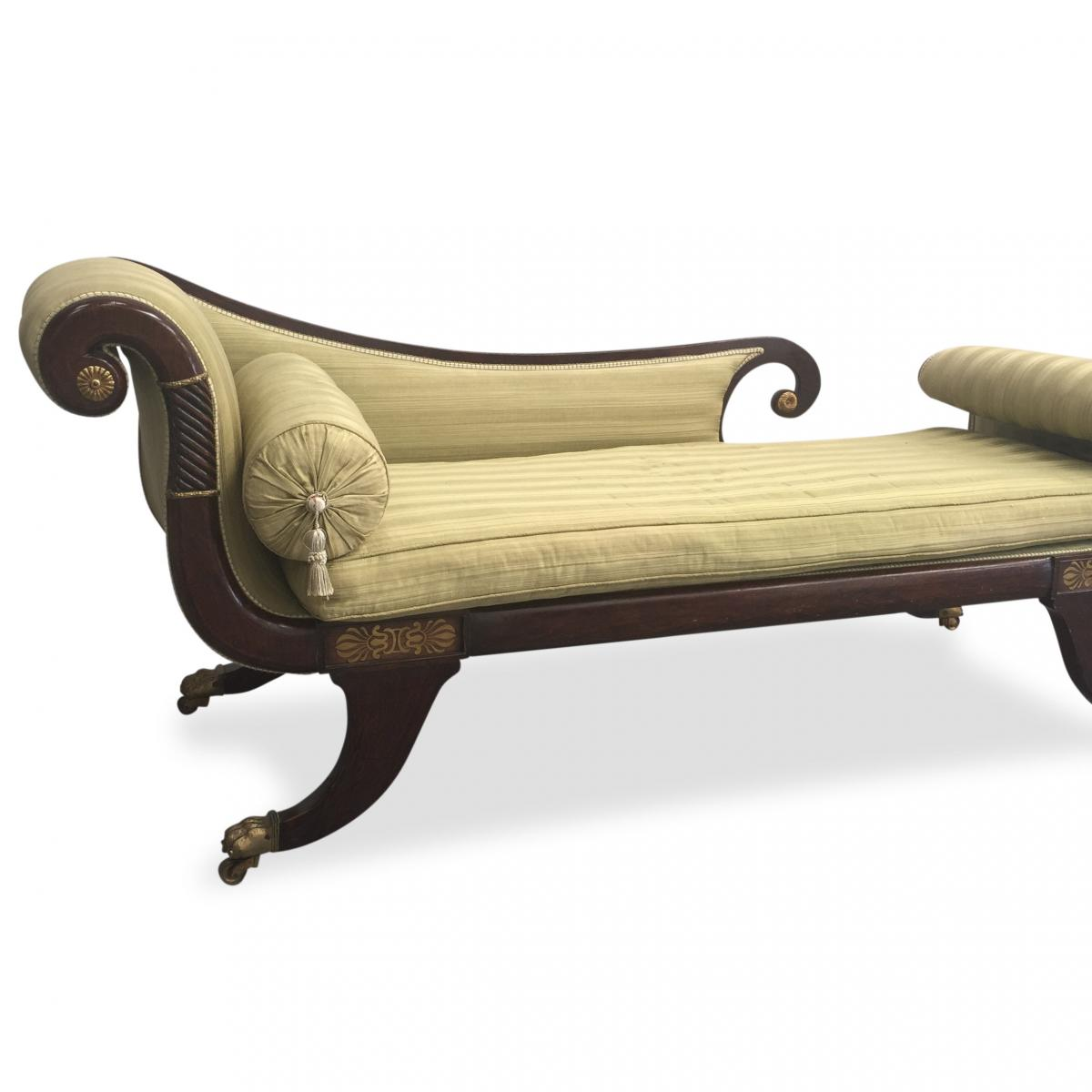 Regency Mahogany and gilt Chaise Longue