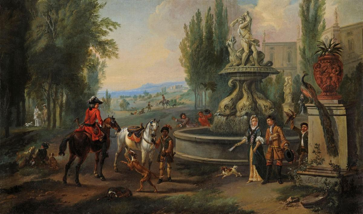 Elegant company and their horses in front of a country house, preparing to leave for hawking  Jan Wyck  c.1645-1700