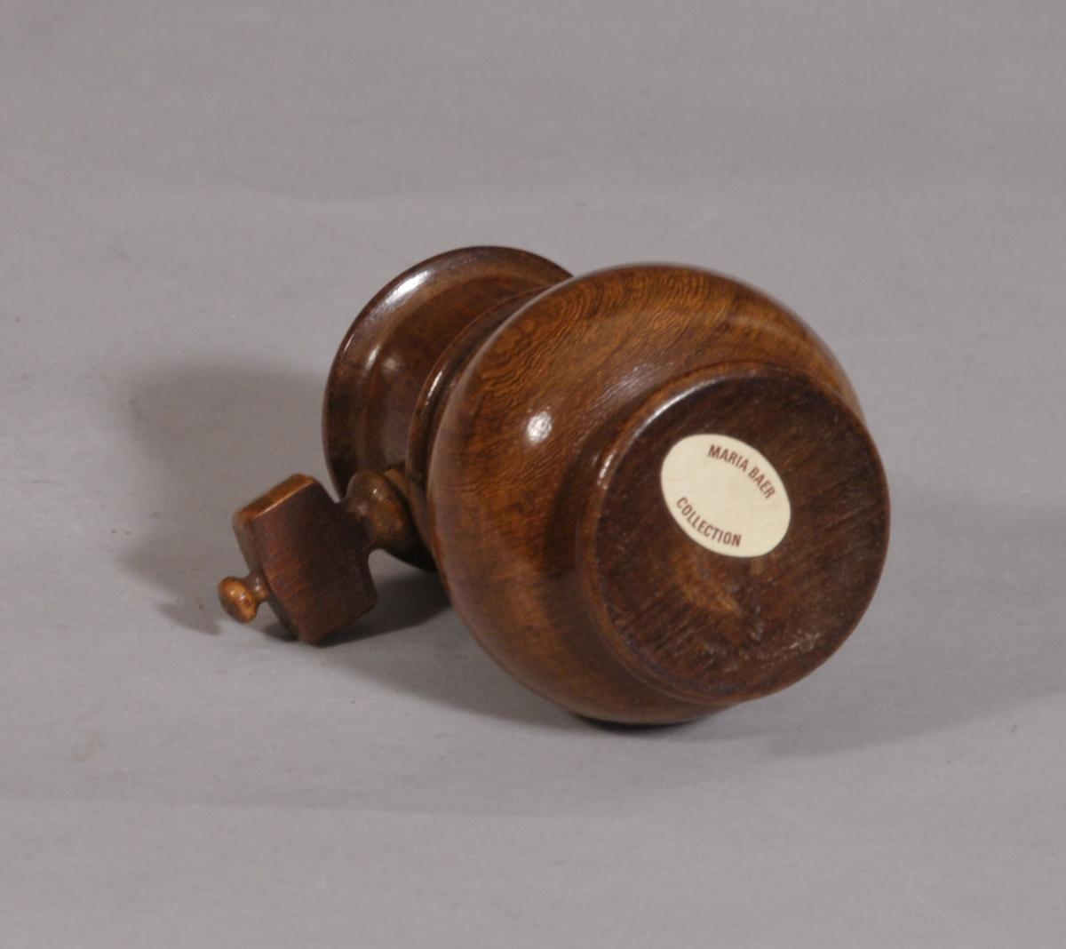 S/3265 Antique Treen 19th Century Fruitwood Spice Grinder