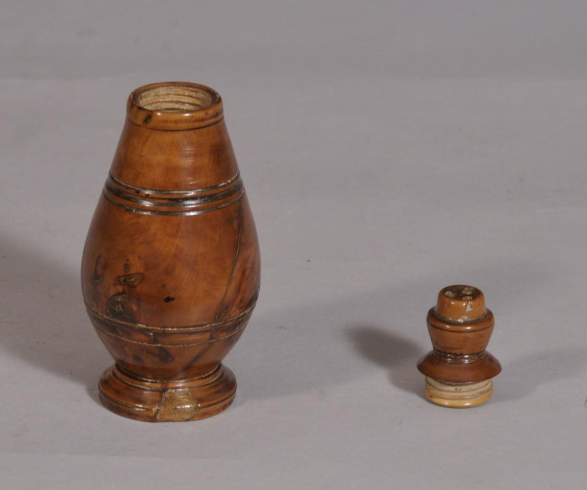 S/3266 Antique Treen Georgian Conical Fruitwood Salt, Pepper or Spice Shaker
