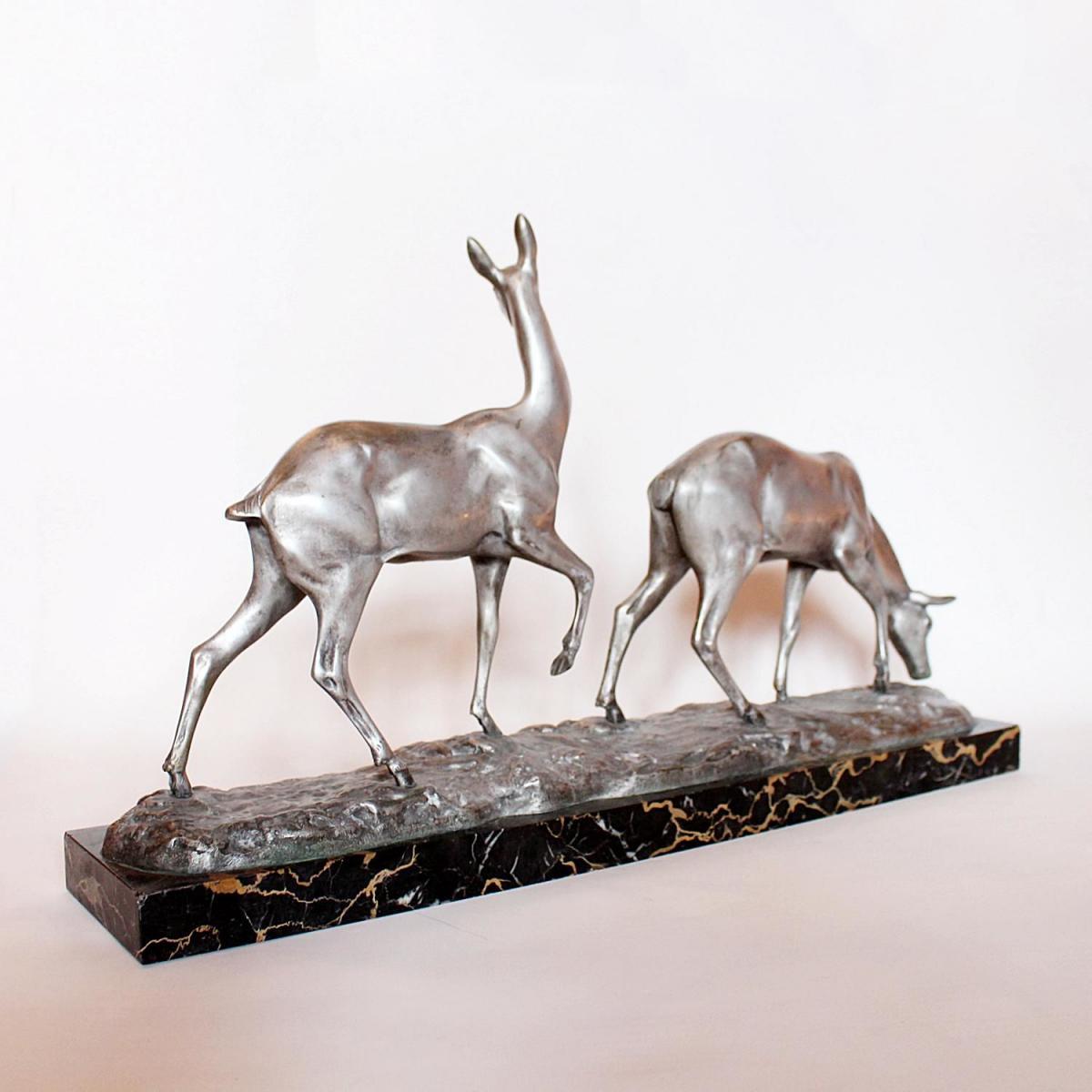 Art Deco Bronze Deer