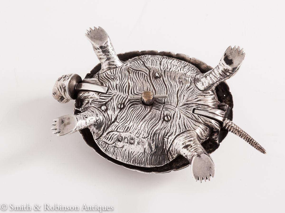 A Novelty Tortoise Silver Bell by Jospeh Braham, 1897
