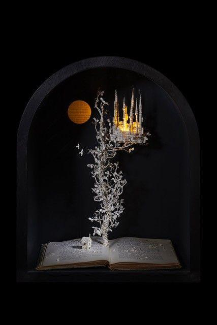 The Beanstalk 2018 380 w x 463 h x 271 d mm book cut sculpture in arched box, with lights Su Blackwell