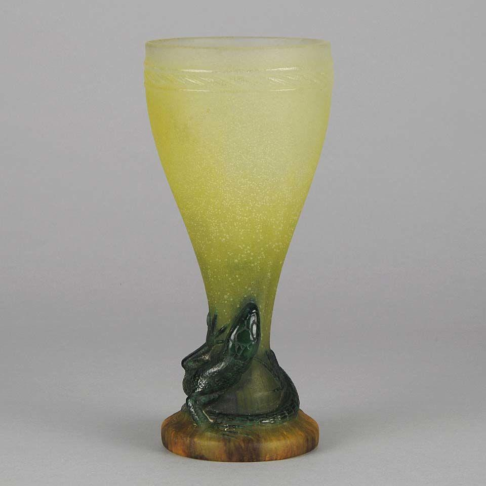 """Early 20th Century Pate-de-Verre glass """"Lizard Vase"""" by Amalric Walter"""