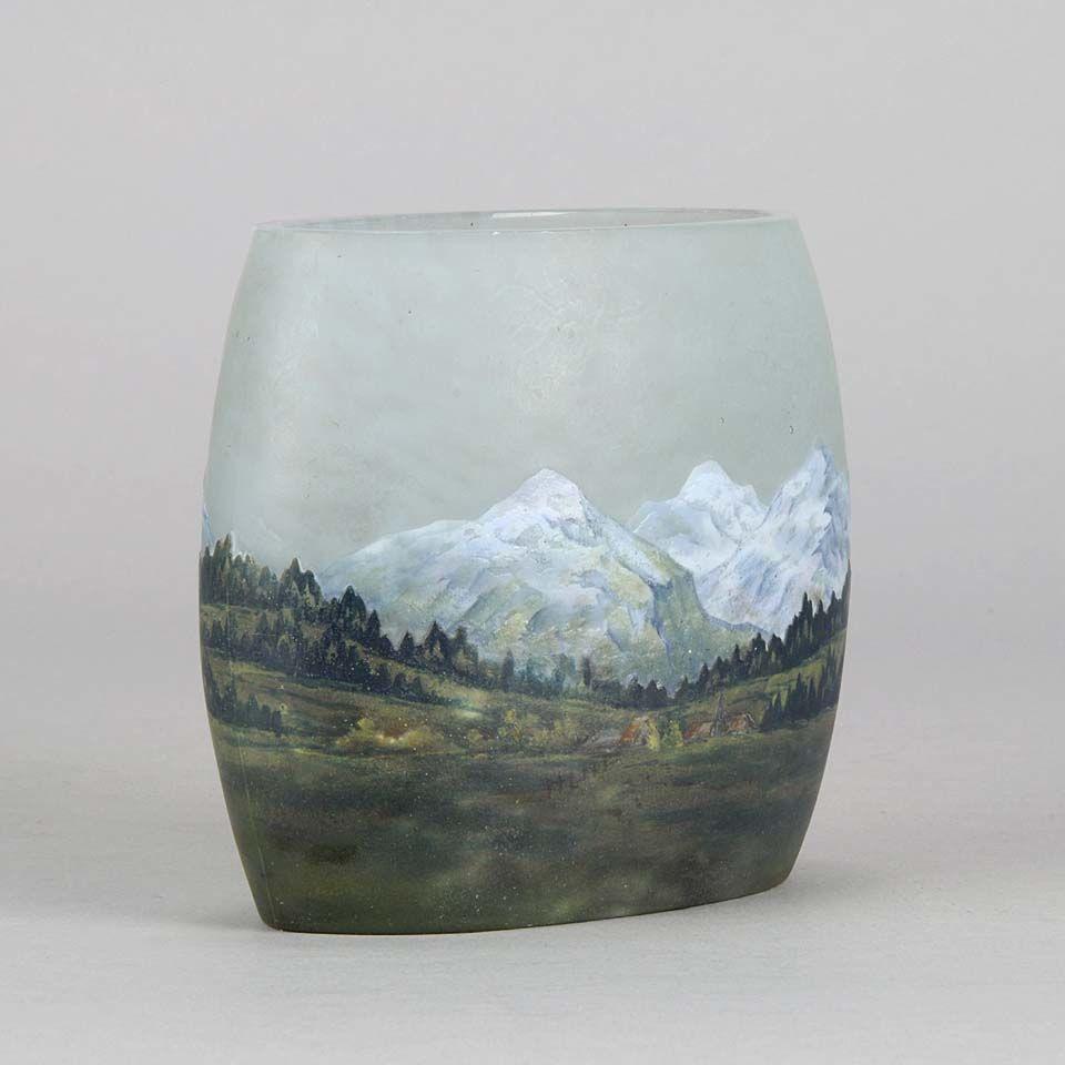 """Art Nouveau Cameo Glass Vase """"Alpine"""" by Daum Frères"""