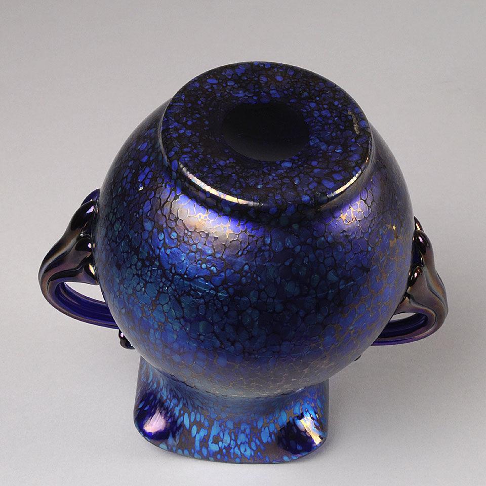 "Art Nouveau Iridescent Glass "" Blue Papillon"" Vase by Johann Loetz"