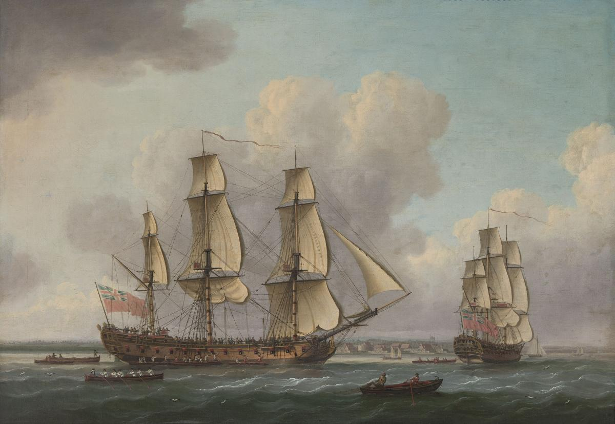 John Cleveley (c.1712-1777) The East Indiaman Princess Royal at the Downs on her maiden voyage to and from China, 9th July 1771