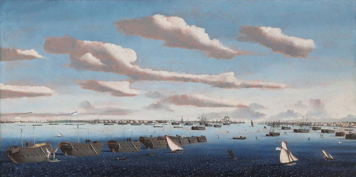 Ambroise Louis Garneray (French, 1783-1857) Noon: Prison hulks in Portsmouth Harbour
