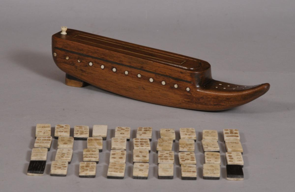 S/3347 Antique Treen 19th Century Mahogany Shoe Games Box